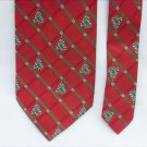 """Hallmark Christmas tree tie silk red and green 4"""" wide necktie"""