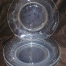 Fostoria Carousel salad plates set of 4 etched glass leaf pattern