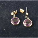Avon earrings purple circle dangle jackets with rhinestone stud