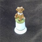Porcelain thimble FM teddy bear on top pink bow 2 1/4 inch