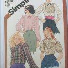 Simplicity 5727 misses blouse pattern sizes 7/8 Uncut retro 1982
