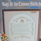 Say it in Cross Stitch pattern book Country Handcrafts 17 color designs 34 pages