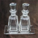 2 Crystal perfume bottle on tray excellent and rare with stoppers