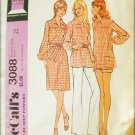 McCall 3088 misses dress top pants shorts retro 1972 UNCUT pattern size 12