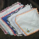 6 vintage handkerchiefs 5 crochet 1 tatted edge all good various linen color lot