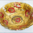 "Goofus Glass red painted flower bowl gold back 4 seams EAPG 9"" diameter"