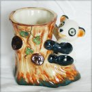 Panda vase occupied Japan ceramic tree stump look good viintage