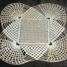 Doily square center scalloped corners 9x9 inch light ecru hand crochet