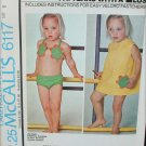 McCall 6117 Children bikini & cover up size 6 UNCUT retro pattern