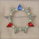 B David rhinestone circle pin multi colors vintage brooch jewelry