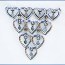 Lisner vintage pin hearts with smaller dangle hearts inside retro brooch