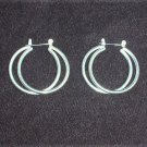 "Silver plated double hoop earrings 1 3/8"" diameter nice"
