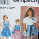 Simplicity 7067 girl's dress jacket purse sizes 5 6 6X pattern