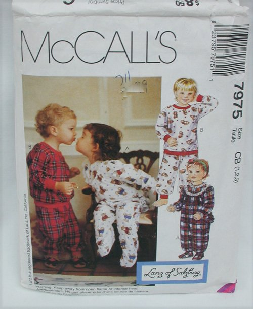 McCall 7975 child toddlers 1 or 2 piece pajamas sizes 1 2 3 sewing pattern