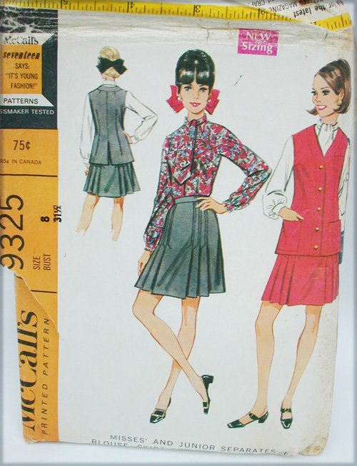 McCall 9325 misses blouse pleated skirt jacket size 8 retro pattern 1968