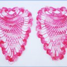 "2 Pineapple doily appliques rose pink 6x5"" hand crocheted clean never used"