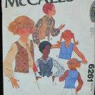 McCall 6261 girls reversible vest pattern size 10 vintage 1978 pattern