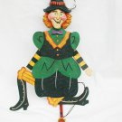 Department 56 Halloween witch metal jointed broom pull door wall hanging has tag
