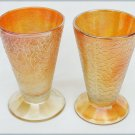 Jeannette crackle carnival glass tumbler glasses set of two one as is