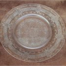 "MacBeth Evans Stippled Rose S band clear glass 8"" lunch plate"
