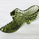Fenton hobnail shoe green cat on tongue glass slipper perfect