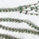 "Beaded rope belt iridescent gray pearls in center 48"" tassel ends"