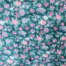 Springs Industries green floral print rose blue flowers cotton blend