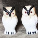 Salt & pepper shakers bone china owls white tan rubber stoppers