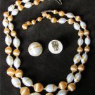 Japan necklace clip earring set white orange beads 2 strands light weight vintage