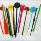 Lot of 17 souvenir plastic stirrers collectible bar ware swizzle stir sticks