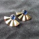 """Avon earrings blue stones gold tone fan 1.5"""" wide"""