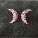 Crescent shaped earrings pink rhinestones faux pearls screw back vintage