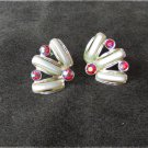 Vintage earrings iridescent red rhinestones faux long pearls clip on