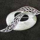 Celebrity floral ribbon pin silver tone vintage jewelry marked