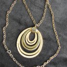 "Lisner pendent necklace cut ovals gold tone 24"" heavy chain"