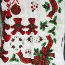 Christmas fabric appliques teddy bears ornaments bows red green plaids Cranston