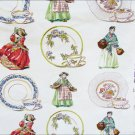 Screen print fabric teacups saucers ladies vintage 1961 some light stains