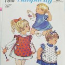 Simplicity 7918 toddler dress & apron size 1 pattern