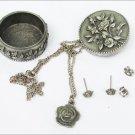 Ms Dee pewter trinket box brooch earrings necklace set