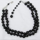 Germany necklace double strand black plastic beads knotted spacers