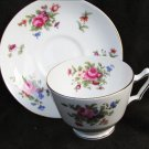 Staffordshire cup sacuer bone china England cabbage roses