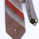"Pierre Cardin narrow 3"" wide neck tie soft brown burgundy stripe"