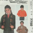 McCall 7750 boys girls jacket with without hood size 12 pattern
