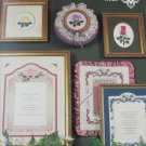 Blossoms and Bows cross stitch patterns for picture mats frames and roses