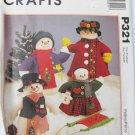 "McCall P321 Snow Family UNCUT pattern 20"" 13"" snowman & doll"