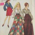 Simplicity 8550 misses pantskirt or skirt  blouse size 12 bust 34 vintage 1969 pattern