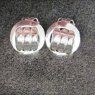 """Coro earrings vintage clip on small 5/8"""" raised knot in circle marked jewerly"""