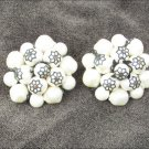 "Laguna clip earrings white beads black accents vintage 1.25"" diameter"