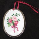 Hallmark Cds ornament oval porcelain roses silver trim 3 3/8 x 2 1/2""