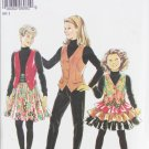 Simplicity 6982 girls skirt ruffled skirt waist coat sizes 8 to 14 New Look pattern